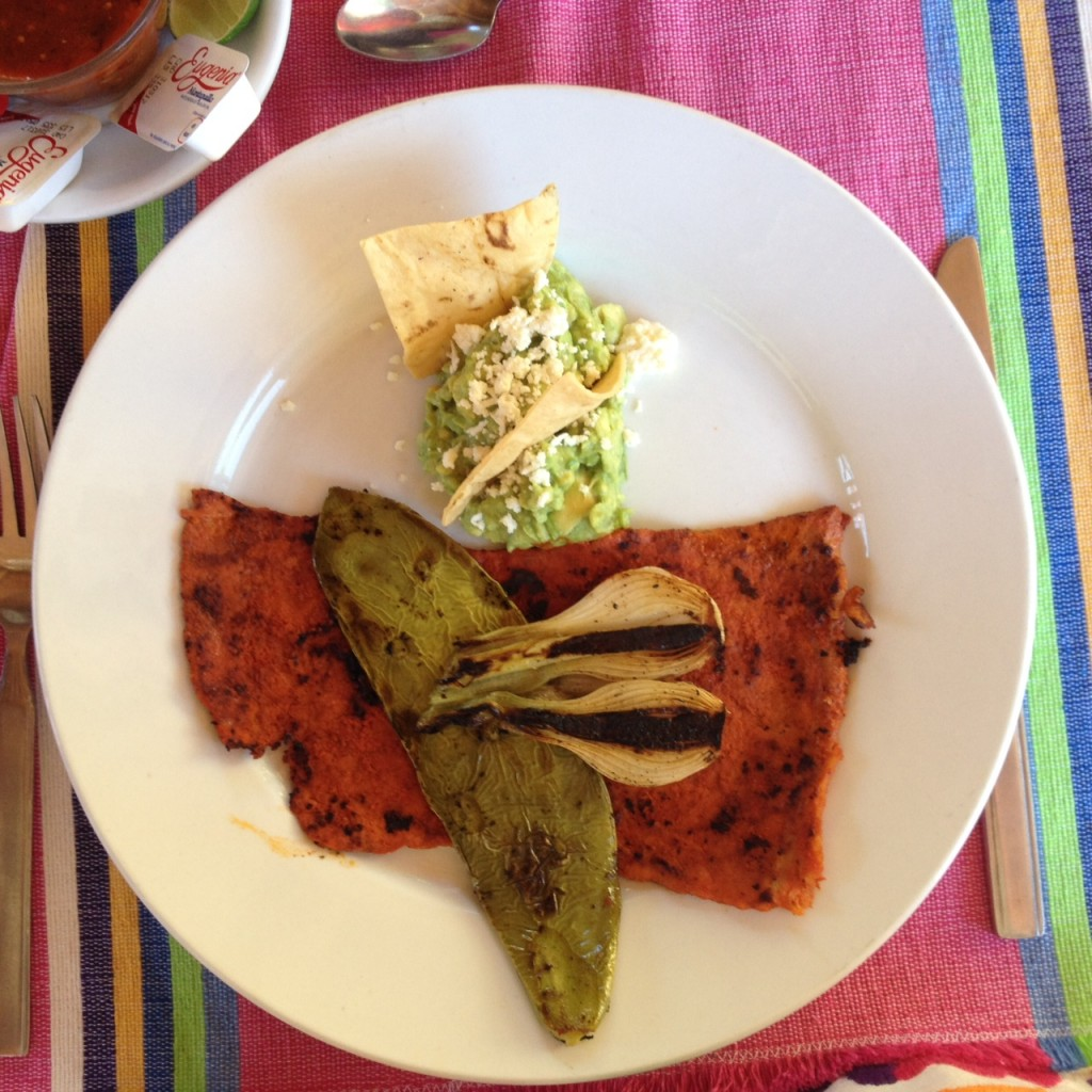 Traditional Plate including Cecina, a thin slice of pork seasoned with Chile, roasted nopal (cactus) and onions, and guacamole. Delicious!