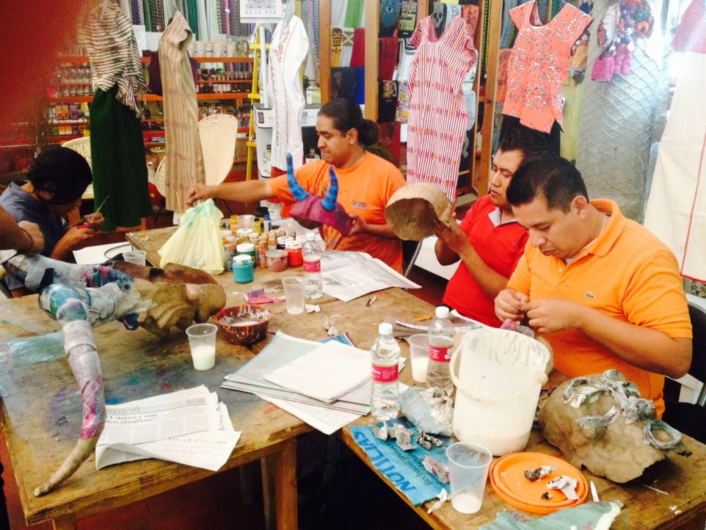 Students Working in Mask Making Workshop