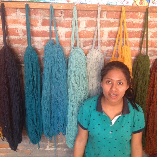 Our teacher Veronica and wool dyed with natural dyestuffs