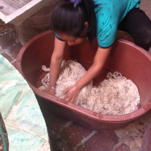 Washing wool before dying